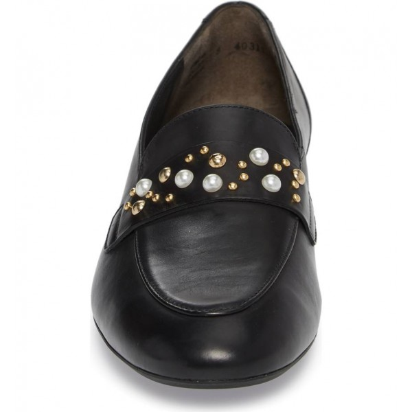 Black Loafers for Women Round Toe Flats with Studs and Studs image 3