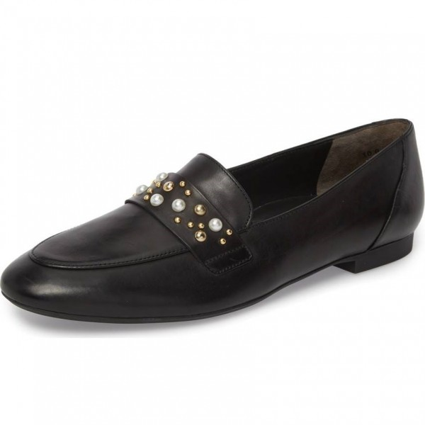 Black Loafers for Women Round Toe Flats with Studs and Studs image 1