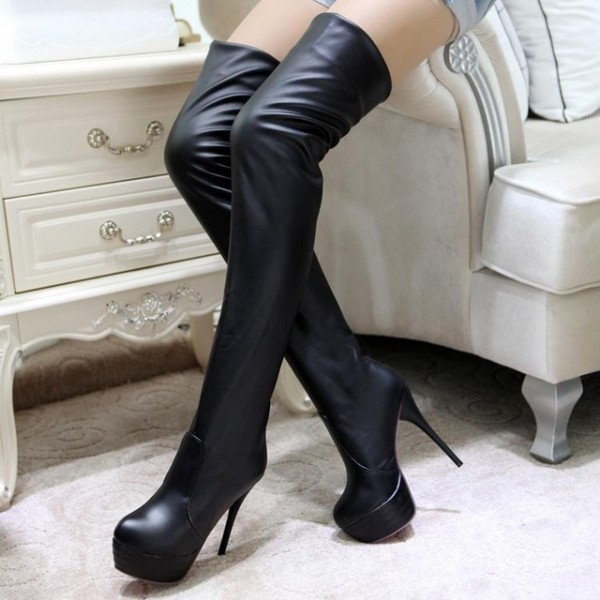 Black Thigh High Heel Boots Platform Stiletto Heel Long Boots image 1