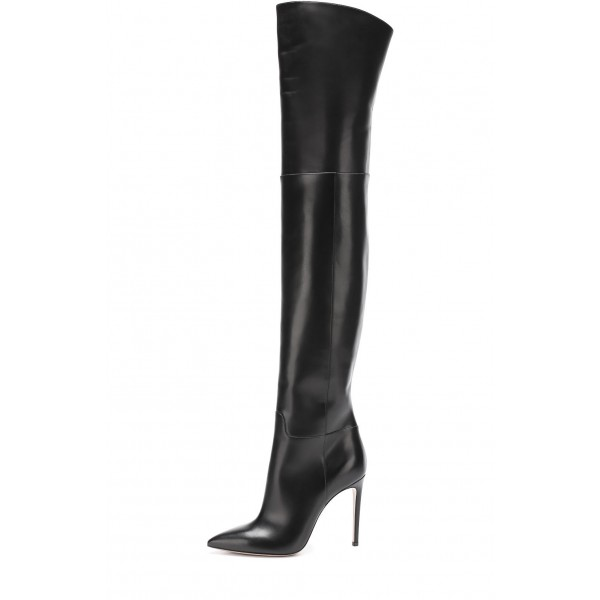 Black long Boots Pointy Toe Stiletto Heels Over-the-Knee Boots image 2