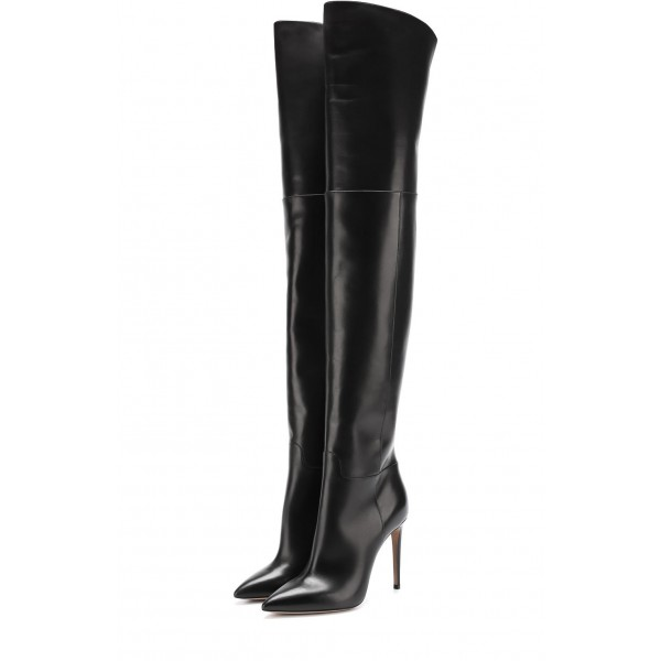 Black long Boots Pointy Toe Stiletto Heels Over-the-Knee Boots image 1