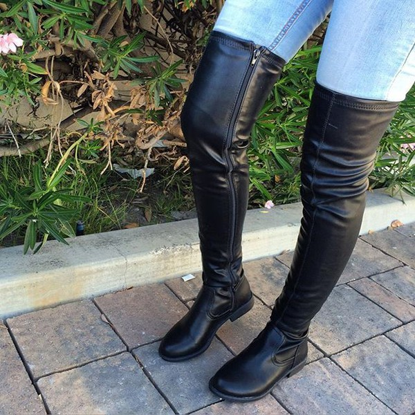de7ff3ce995c6 Black Trendy Flat Over-the-knee Long Boots US Size 3-15 for Work ...