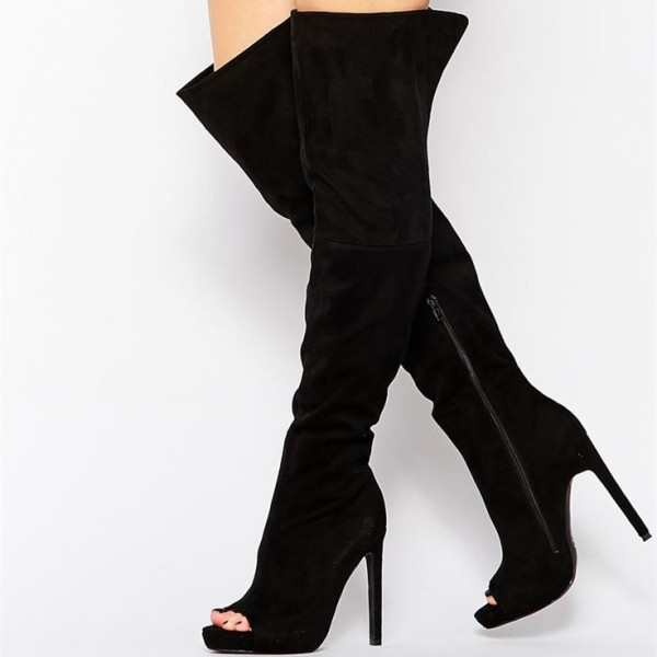 Black Wide Calf Thigh High Boots Peep Toe Stiletto Heel Suede Boots image 1
