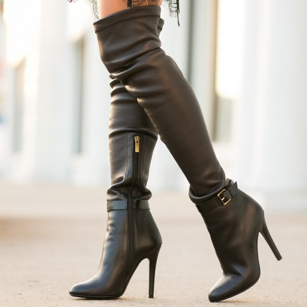 Black long Boots Stiletto Heels Over-the-Knee Boots image 1