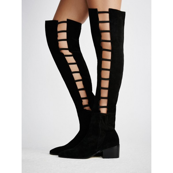 Black long Boots Suede Round Toe Flat Knee-high Boots image 3
