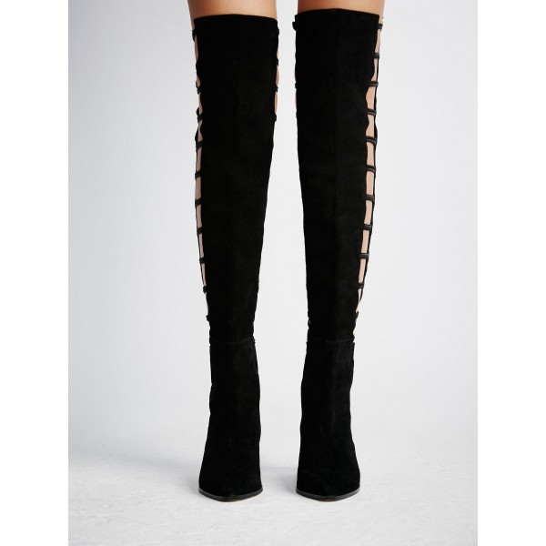 Black long Boots Suede Round Toe Flat Knee-high Boots image 4