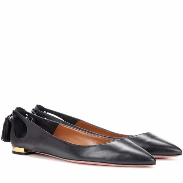 Women's Black Comfortable Flats Pointy Toe Hollow Out Leather Shoes image 3