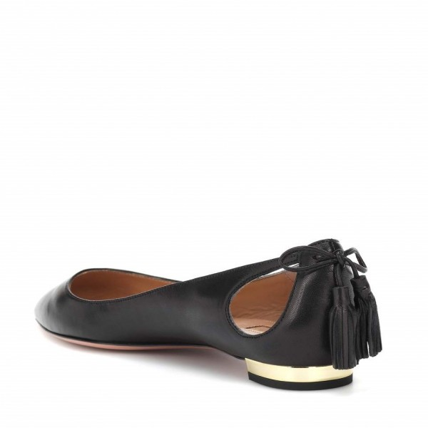 Women's Black Comfortable Flats Pointy Toe Hollow Out Leather Shoes image 2