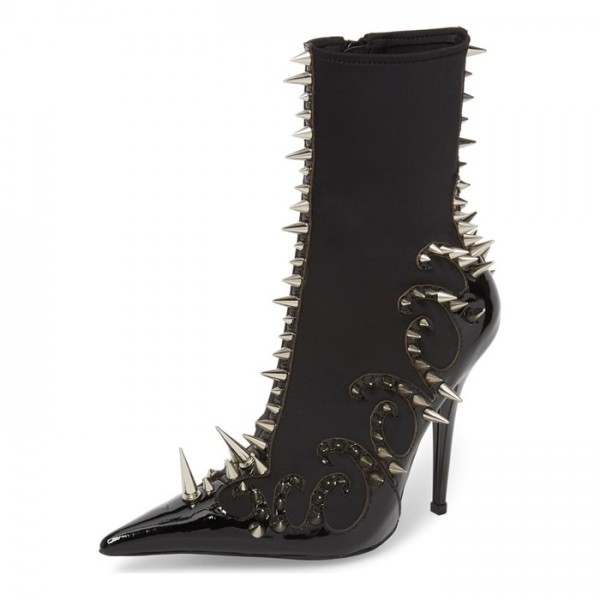 Black Lycra and Patent Leather Spike Stiletto Boots Ankle Boots image 1