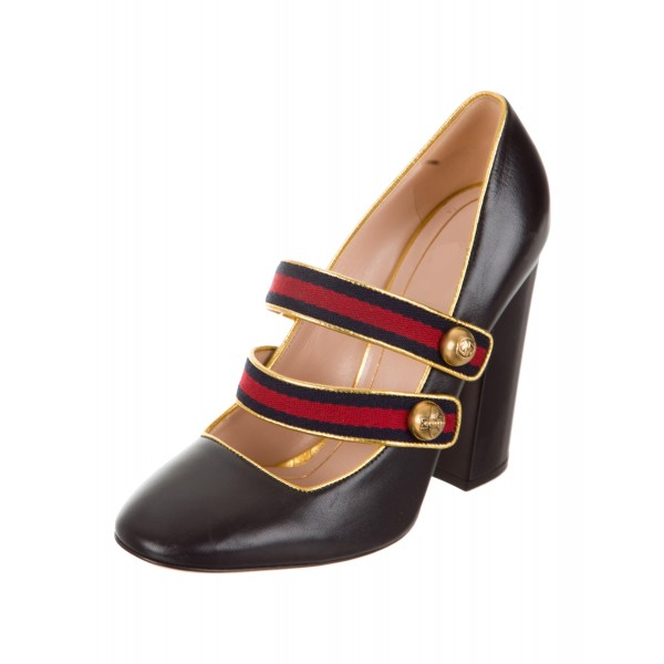 Black Mary Jane Pumps Retro Chunky Heels for Women image 4