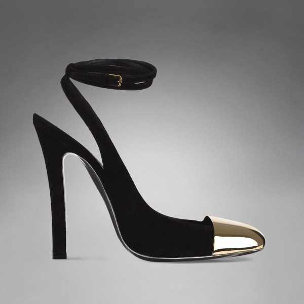Black and Gold Slingback Pumps Ankle Strappy Chunky Heels image 2