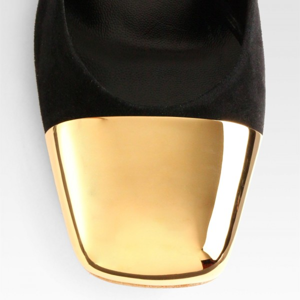 Black and Gold Slingback Pumps Ankle Strappy Chunky Heels image 3