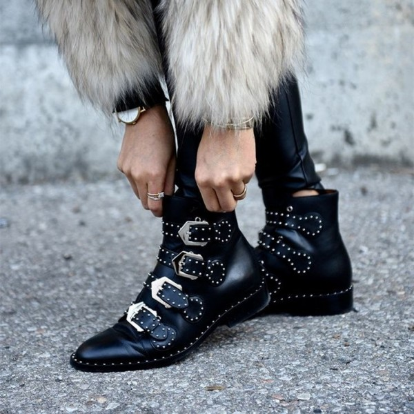 Black Motorcycle Boots Studded Buckles Round Toe Ankle Booties image 1