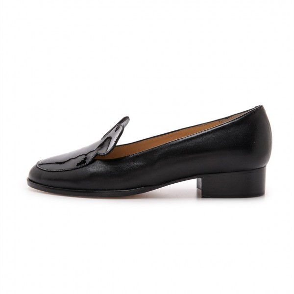 Black Mousey Patent Leather Loafers for Women image 2