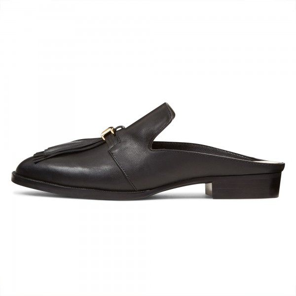Black Casual Loafer Mules Comfy Round Toe Flat Loafers for Women image 3