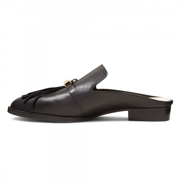 Black Casual Loafer Mules Comfy Round Toe Flat Loafers for Women image 2