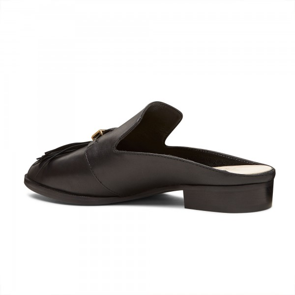 Black Casual Loafer Mules Comfy Round Toe Flat Loafers for Women image 4