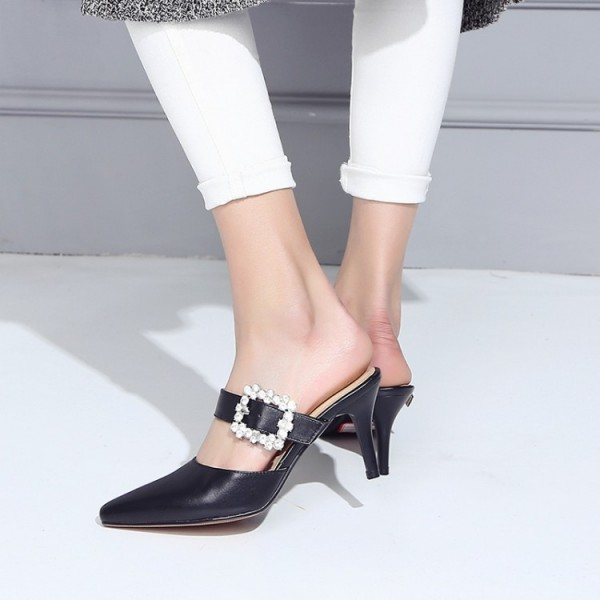 Black Kitten Heels Pointy Toe Heeled Mules with Rhinestone Buckle image 5
