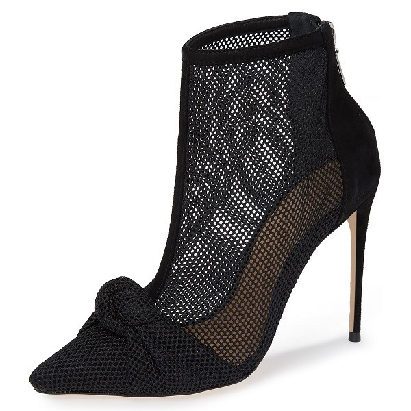 Black Nets Bow Pointed Toe Stiletto Boots Ankle Boots image 1