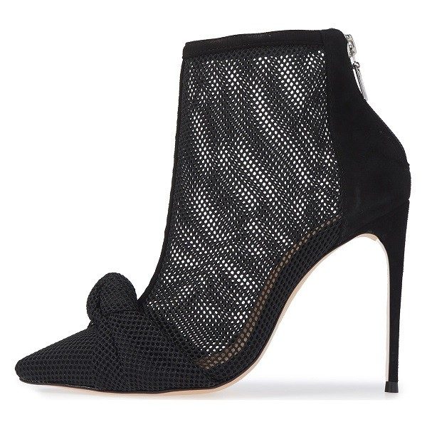 Black Nets Bow Pointed Toe Stiletto Boots Ankle Boots image 3