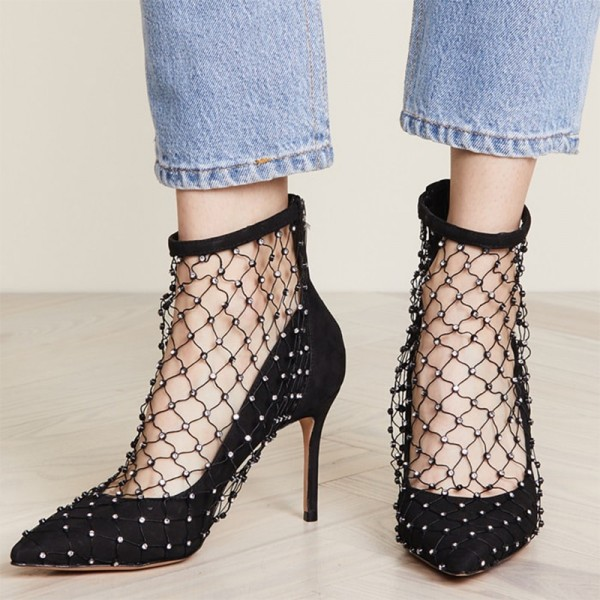 Black Nets Rhinestones Suede Stiletto Heels Pumps image 1