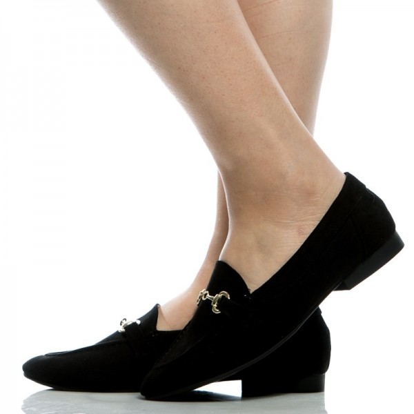 Black Office Shoes Round Toe Loafers For Women Image 1