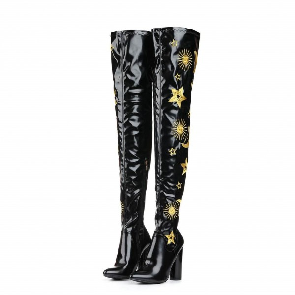 Black Oily Leather Embroider Chunky Heel Boots Thigh High Boots image 3