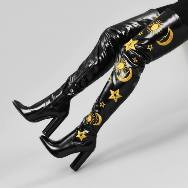 Black Oily Leather Embroider Chunky Heel Boots Thigh High Boots image 4