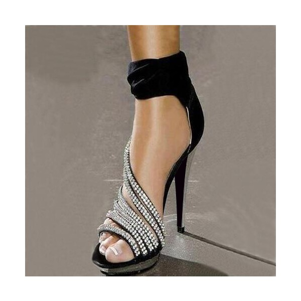 Black Evening Shoes Rhinestone Ankle Strap High Heels Prom Shoes image 2