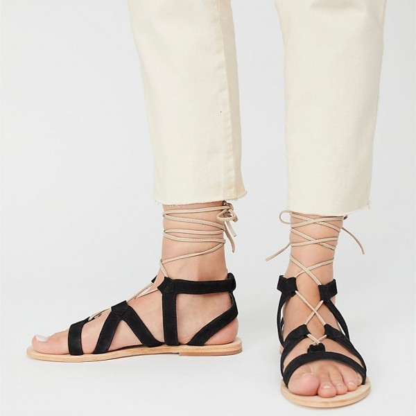 various colors online store later Black Open Toe Gladiator Sandals Lace up Strappy Sandals