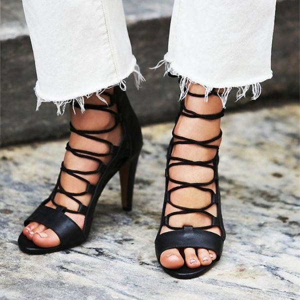 6c64dd2415 Black Open Toe Lace up Sandals Cone Heel Sexy Strappy Sandals image 1 ...