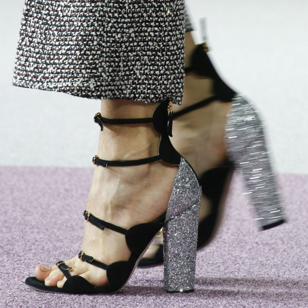Black Open Toe Silver Glitter Chunky Heel Sandals with Buckles image 1