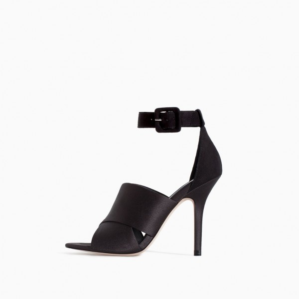 Black Open Toe Stiletto Heels Buckle Satin Ankle Strap Sandals image 1