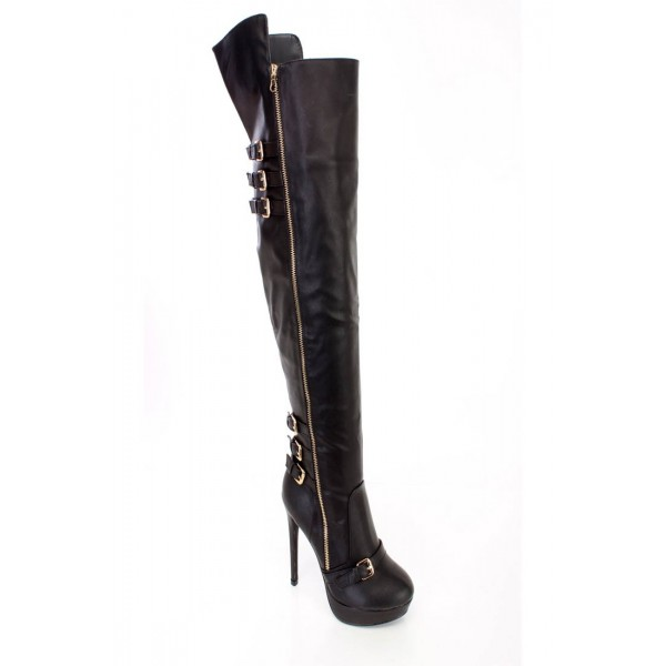 Black Wide Calf Boots Stiletto Heel Platform Knee Boots with Buckles image 2