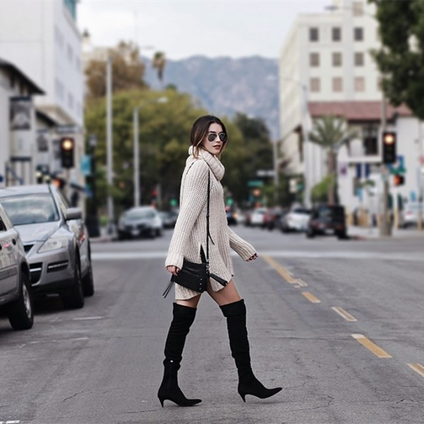 Black Suede Knee High Heel Boots Pointy Toe Cone Heels Long Boots image 5