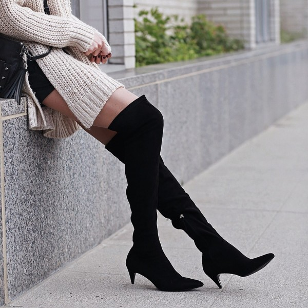 Black Suede Knee High Heel Boots Pointy Toe Cone Heels Long Boots image 4