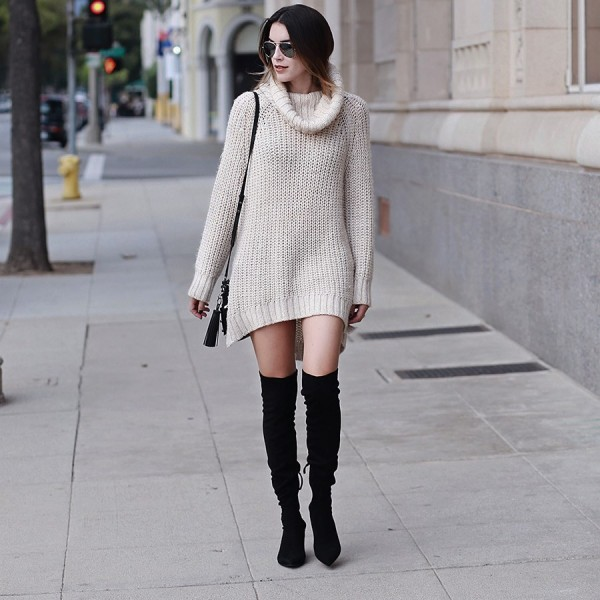Black Suede Knee High Heel Boots Pointy Toe Cone Heels Long Boots image 3