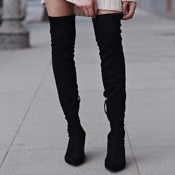 Black Suede Knee High Heel Boots Pointy Toe Cone Heels Long Boots image 2