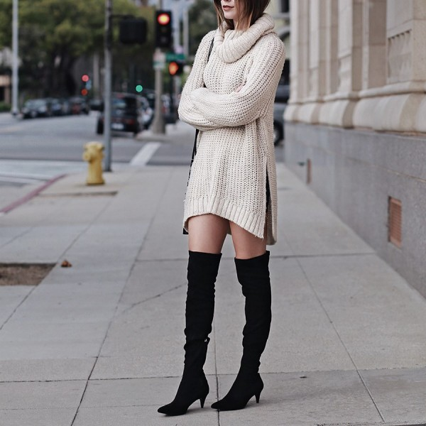 Black Suede Knee High Heel Boots Pointy Toe Cone Heels Long Boots image 6
