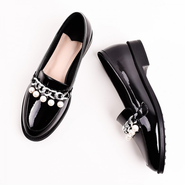 Black Patent Leather Pearls Loafers for Women Vintage Shoes image 2