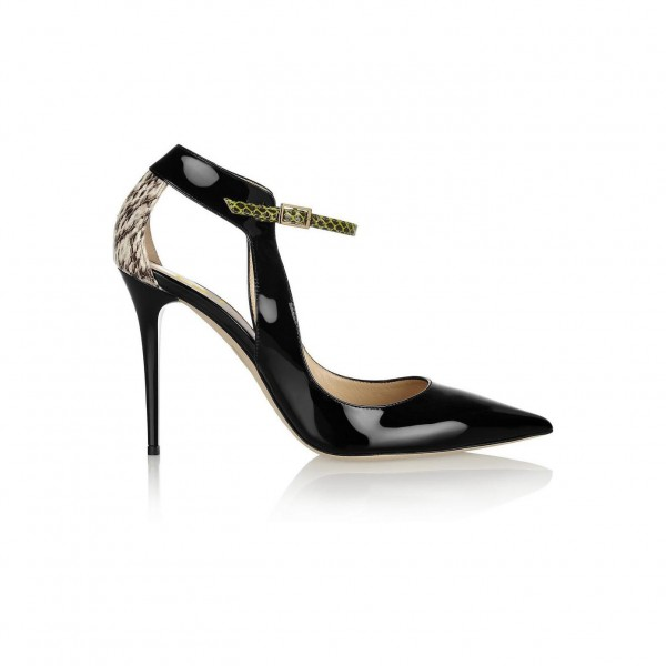 Black Stiletto Heels Pointy Toe Python Pumps for Ladies image 4