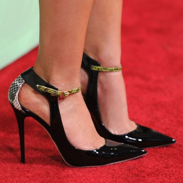 Black Stiletto Heels Pointy Toe Python Pumps for Ladies image 2