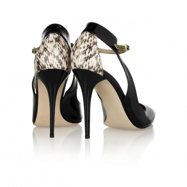 Black Stiletto Heels Pointy Toe Python Pumps for Ladies image 5