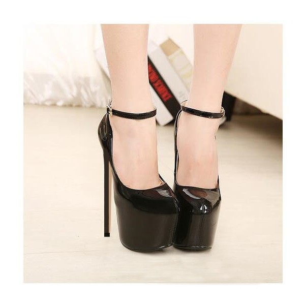 Black Stripper Heels Ankle Strap Patent Leather Platform Pumps image 2