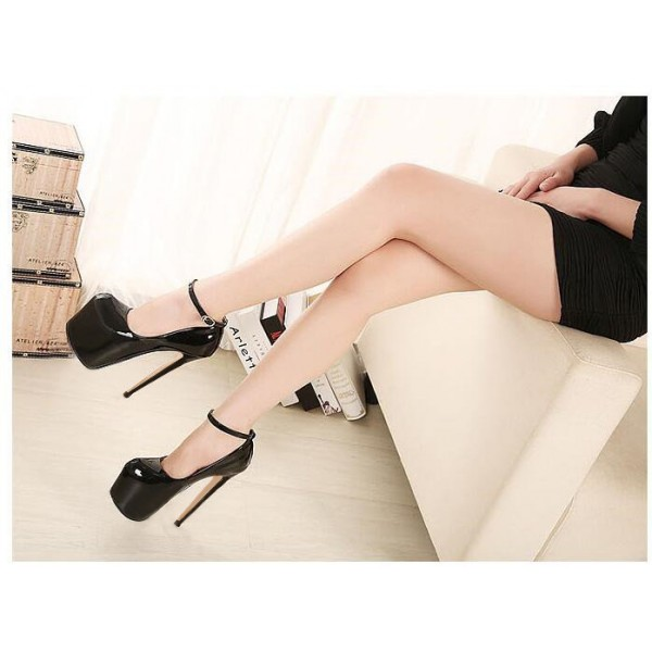 Black Stripper Heels Ankle Strap Patent Leather Platform Pumps image 3