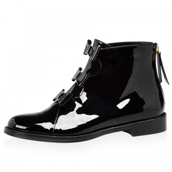 Black Patent Leather Bow Flat Ankle Boots image 2