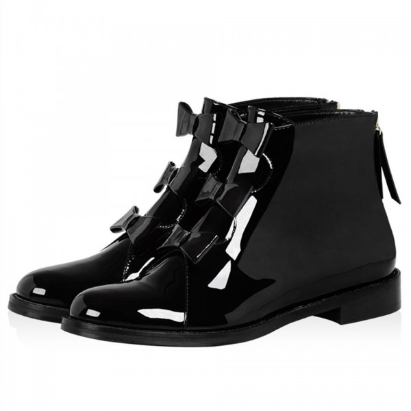 Black Patent Leather Bow Flat Ankle Boots image 1