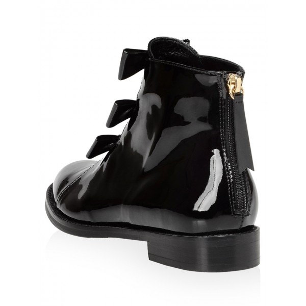 Black Patent Leather Bow Flat Ankle Boots image 4