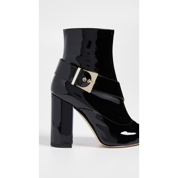 Black Patent Leather Buckle Ankle Booties Chunky Heel Boots with Zip image 3
