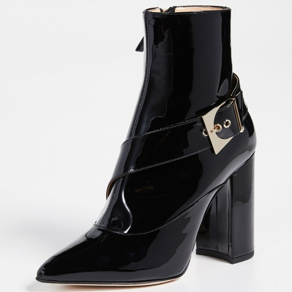 Black Patent Leather Buckle Ankle Booties Chunky Heel Boots with Zip image 2